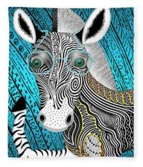 Portrait Of The Artist As A Young Zebra Fleece Blanket