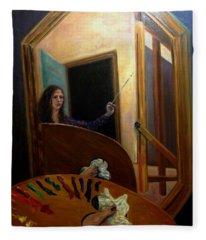 Portrait Of The Artist Fleece Blanket