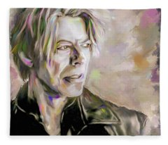 Portrait Of Bowie Fleece Blanket