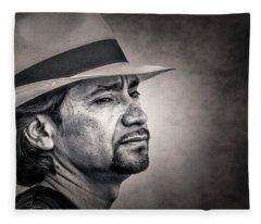 Portrait With Hat Fleece Blanket