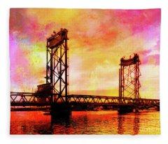 Portsmouth Memorial Bridge Abstract At Sunset Fleece Blanket