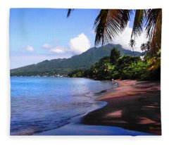 Portsmouth Shore On Dominica Filtered Fleece Blanket