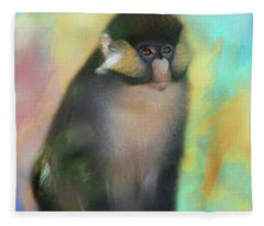 Posed Spider Monkey Fleece Blanket