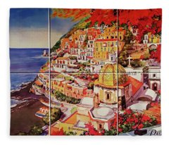 Positano Street Art Fleece Blanket