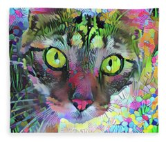 Posie The Tabby Cat Fleece Blanket