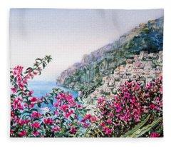 Positano Italy Fleece Blanket