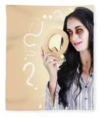 Possessed Businesswoman Holding A Q For Question Fleece Blanket