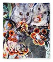 Possum Family Fleece Blanket