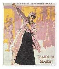 Poster Depicting Women Making Munitions  Fleece Blanket