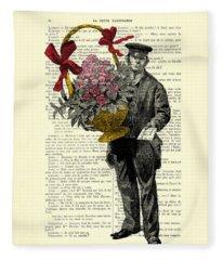 Postman Delivering Bouquet Of Flowers Fleece Blanket