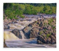 Potomac River At Great Falls Park Fleece Blanket
