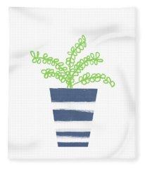 Potted Plant 1- Art By Linda Woods Fleece Blanket