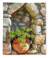 Potted Plant In Niche In Stone Wall In Greek Village Fleece Blanket