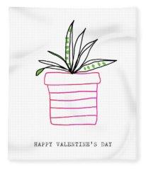 Potted Plant Valentine- Art By Linda Woods Fleece Blanket