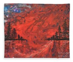Pour - Red And Pines Fleece Blanket