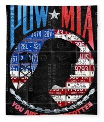 Pow Mia You Are Not Forgotten Recycled Vintage American License Plate Art Fleece Blanket