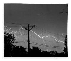 Power Lines Bw Fine Art Photo Print Fleece Blanket