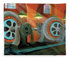 Power Plant Turbines Fleece Blanket