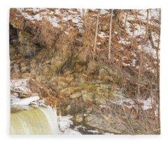 Power Station Falls On Black River Four Fleece Blanket
