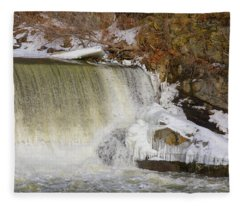 Power Station Falls On Black River Three Fleece Blanket
