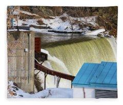 Power Station Falls On Black River Two Fleece Blanket