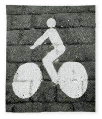Prague Bike Lane-  By Linda Woods Fleece Blanket