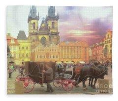 Prague Old Town Square Fleece Blanket
