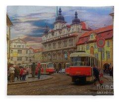 Prague, Old Town, Street Scene Fleece Blanket