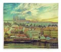 Prague Riverview Fleece Blanket