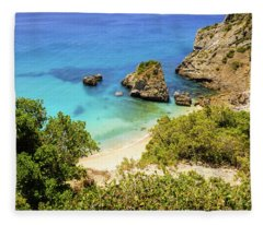 Praia Da Ribeira Do Cavalo In Sesimbra, Portugal Fleece Blanket