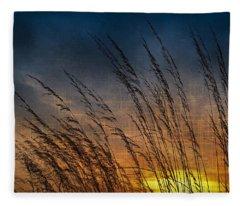Prairie Grass Sunset Patterns Fleece Blanket