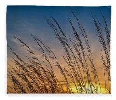 Prairie Grass Sunset Fleece Blanket