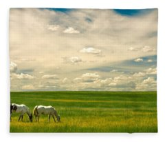 Prairie Horses Fleece Blanket