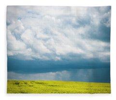 Prairie Storm Over The Canola Fleece Blanket