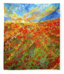 Prairie Sunrise - Poppies Art Fleece Blanket