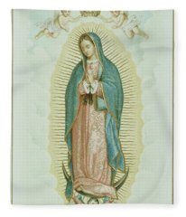 Prayer Card Depicting Our Lady Of Guadalupe Fleece Blanket
