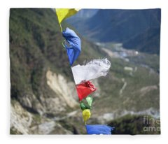 Fleece Blanket featuring the photograph Prayer Flags In The Himalaya Mountains, Annapurna Region, Nepal by Raimond Klavins