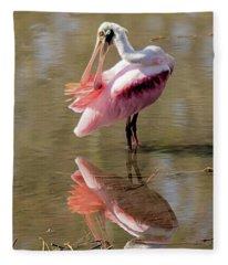 Preening Spoonbill Fleece Blanket