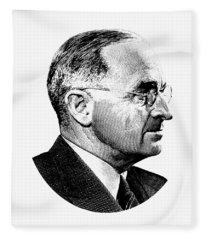 President Harry Truman Profile Portrait - Black And White Fleece Blanket