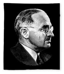 President Harry Truman Profile Portrait Fleece Blanket