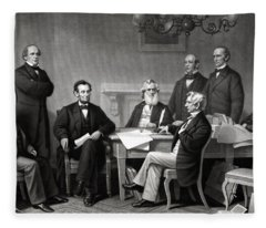 President Lincoln And His Cabinet Fleece Blanket