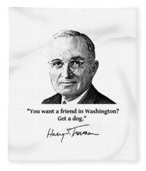 President Truman And Funny Quote On Washington Fleece Blanket
