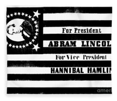 Presidential Campaign Flag Of Abraham Lincoln For President And Hannibal Hamlin For Vice President,  Fleece Blanket