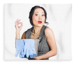 Pretty Asian Lady Giving Ok Gesture To Clean Fleece Blanket