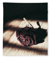 Pretty Dead Rose Resting In The Warm Sun Fleece Blanket
