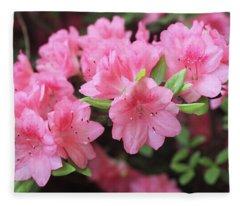 Pretty Pink Azalea Blossoms Fleece Blanket