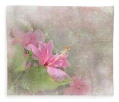 Pretty Pink Hibiscus Fleece Blanket