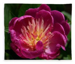Pretty Pink Peony Flower Fleece Blanket