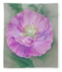 Pretty Pink Poppy Fleece Blanket