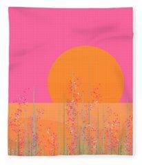 Pretty Pink Prairie Flowers Fleece Blanket